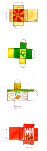 Design for some of the the food boxes in the shopping scene ready to be printed, cut out and folded into 3d boxes